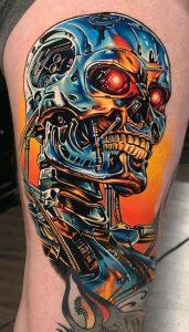 Biomechanical Skull Tattoo
