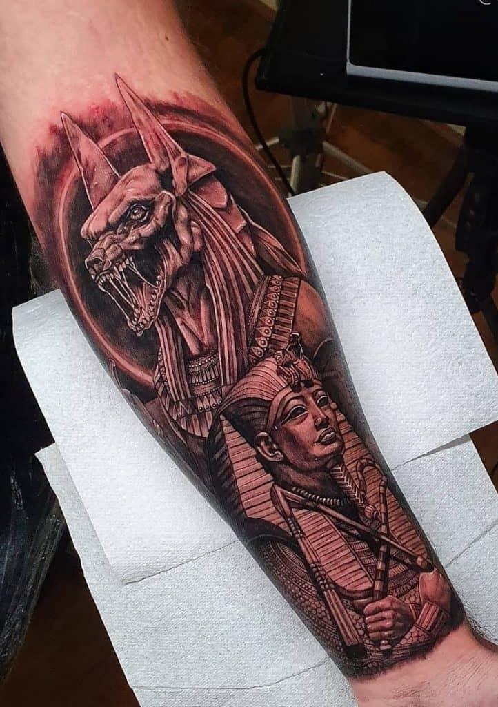 Black and Grey Anubis Tattoo