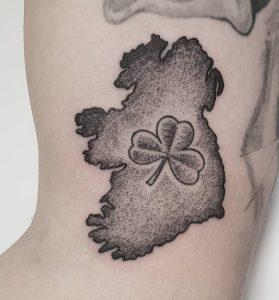 Black and Grey Shamrock Tattoo