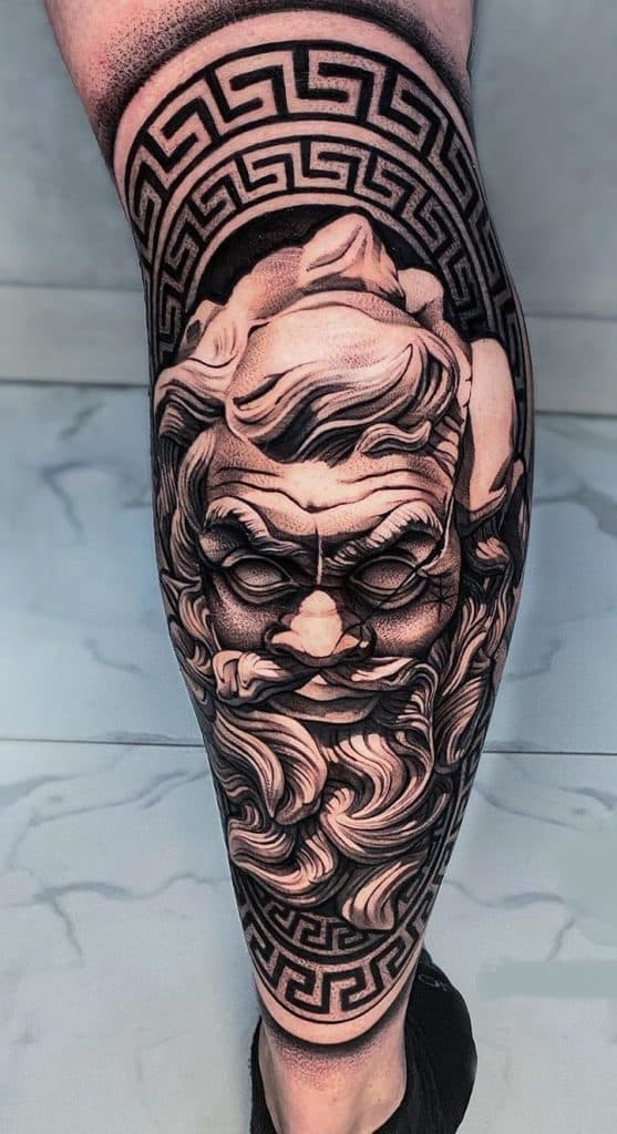 Black and Grey Zeus Tattoo