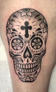 Black-work Sugar Skull Tattoo