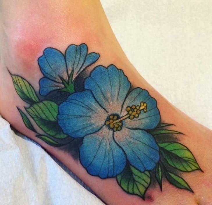 Blue Hibiscus Tattoo