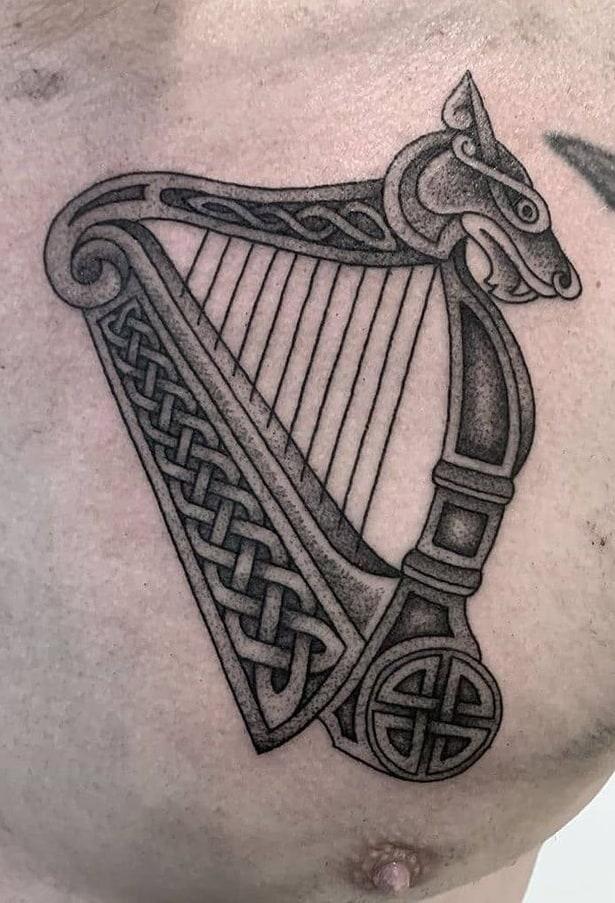 Celtic Harp Tattoo