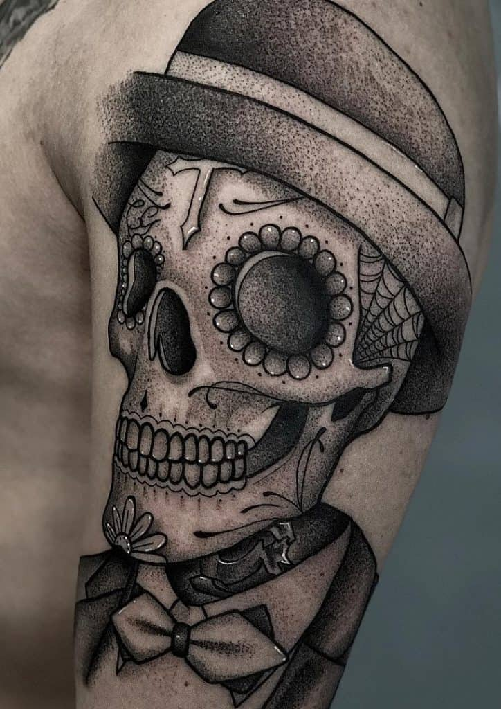 Dot-work Sugar Skull Tattoo