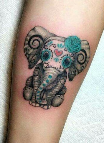 Elephant Sugar Skull Tattoo