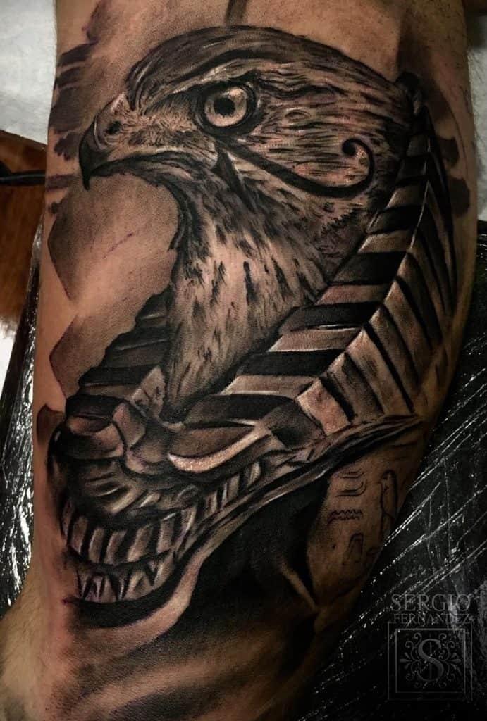 Falcon and Eye of Horus Tattoo