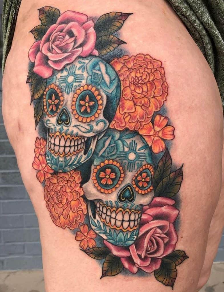 Flower Sugar Skull Tattoo