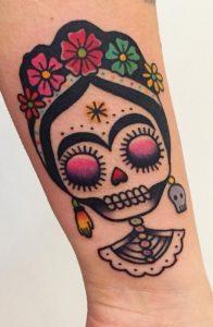 Frida Kahlo Sugar Skull Tattoo