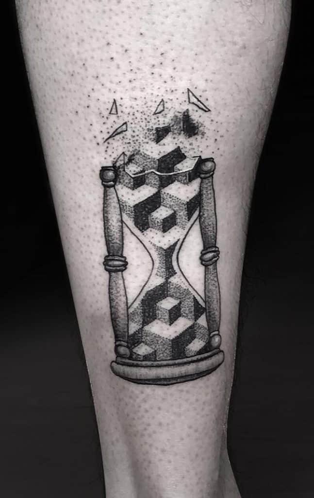 Geometric Hourglass Tattoo