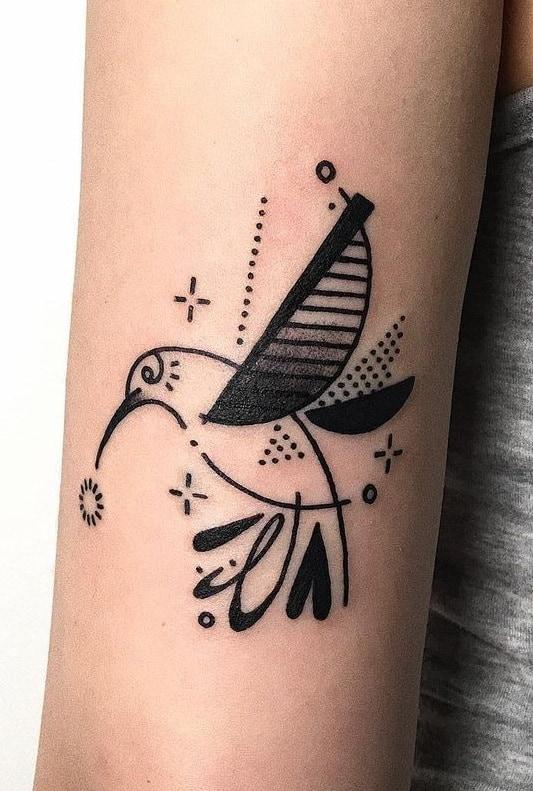 Geometric Hummingbird Tattoo