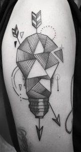 Geometric Light Bulb Tattoo