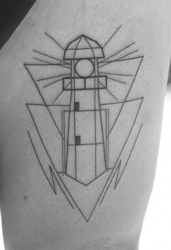 Geometric Lighthouse Tattoo