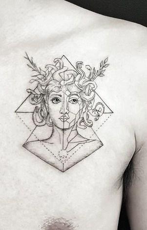 Geometric Medusa Tattoo