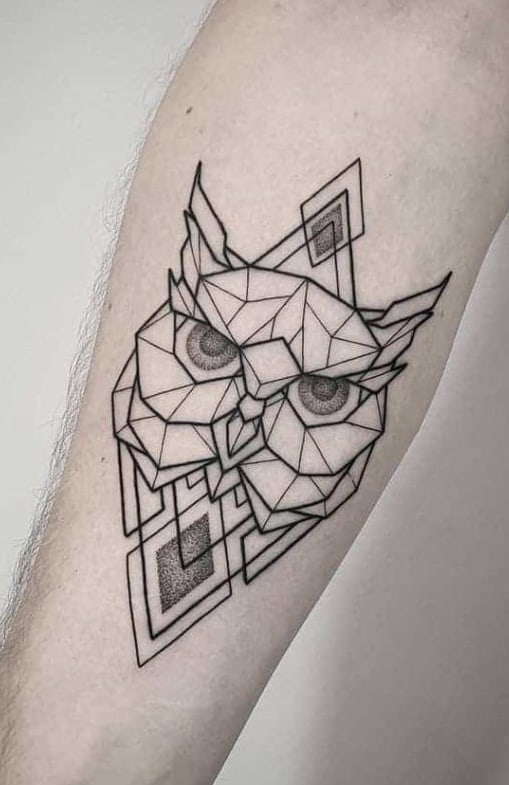 Geometric Owl Tattoo