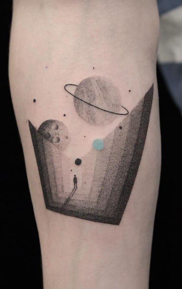 Geometric Space Tattoo
