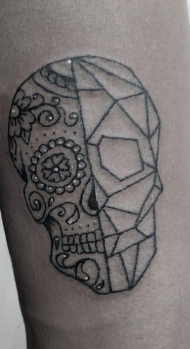 Geometric Sugar Skull Tattoo