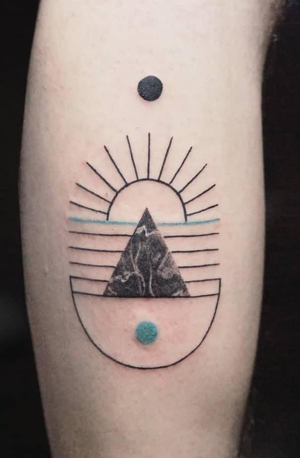 Geometric Sun Tattoo