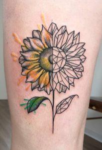 Geometric Sunflower Tattoo