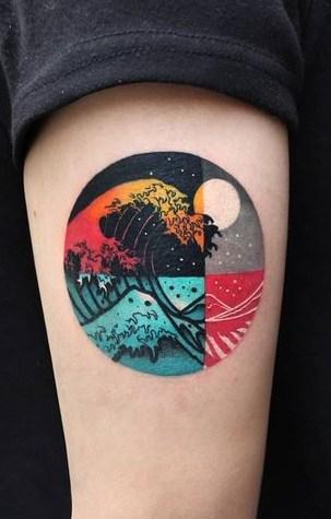 Geometric Wave Tattoo