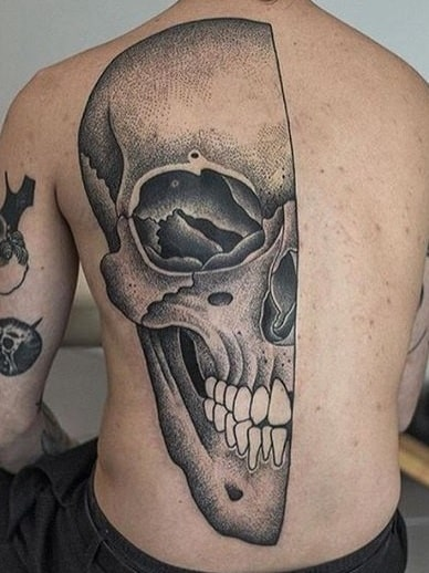 Half Skull Tattoo