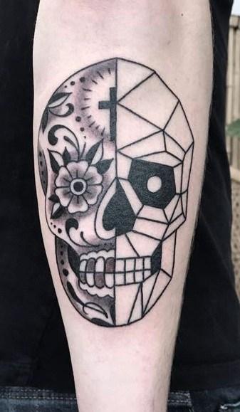 Half Sugar Skull Tattoos