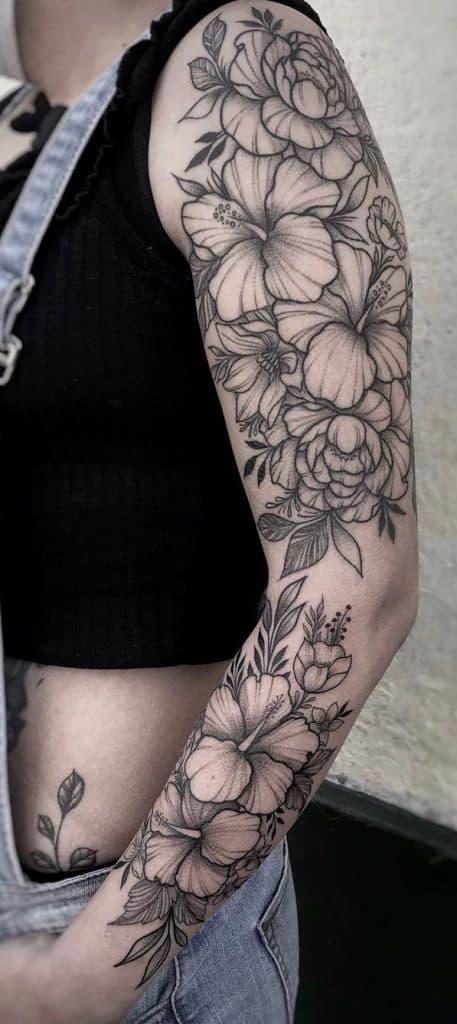 Hibiscus Tattoo Sleeve