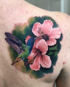 Hibiscus Tattoo on Back