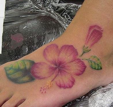 Hibiscus Tattoo on Foot