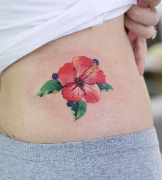 Hibiscus Tattoo on Lower Back