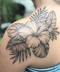 Hibiscus Tattoo on Shoulder