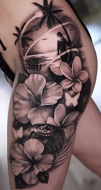 Hibiscus Tattoo on Side