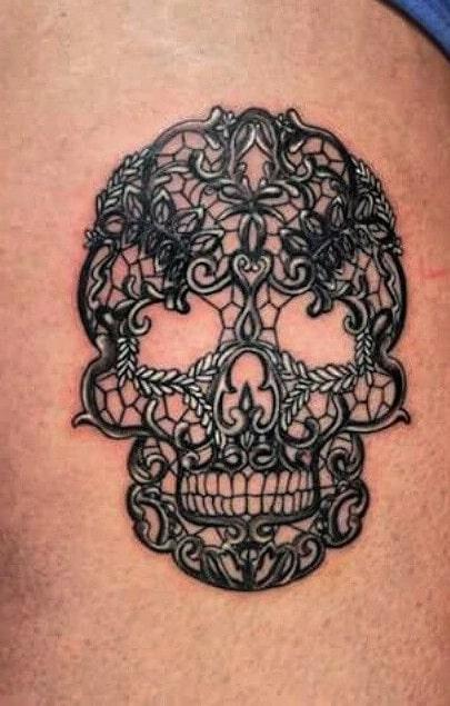 Lace Sugar Skull Tattoo
