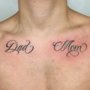 Lettering Tattoo on Chest