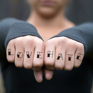 Lettering Tattoo on Fingers