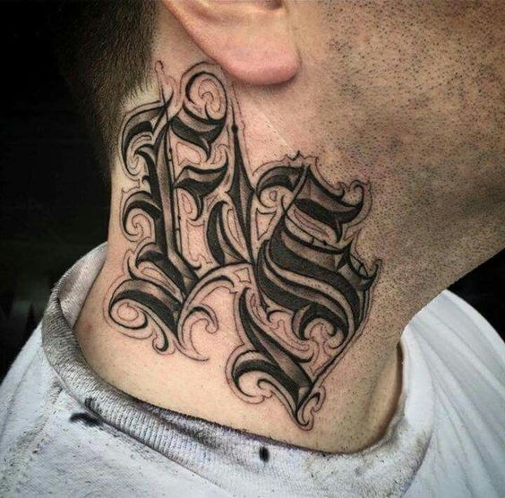 Lettering Tattoo on Neck