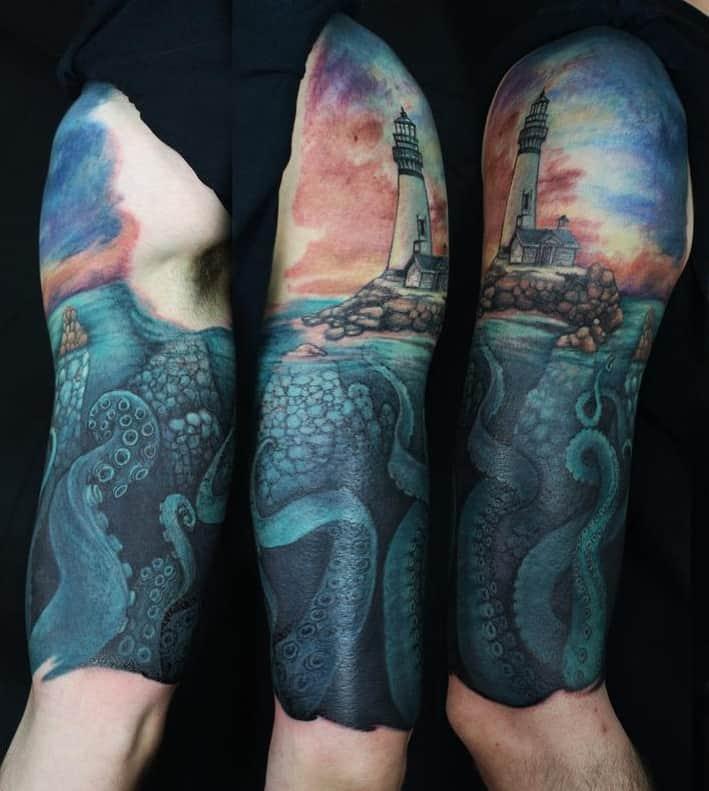 Lighthouse Tattoo Half Sleeve