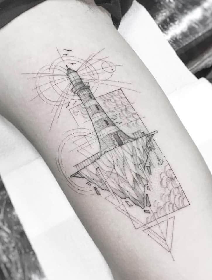 Lighthouse Tattoo on Inner Bicep