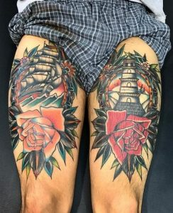 Lighthouse Tattoo on Thigh