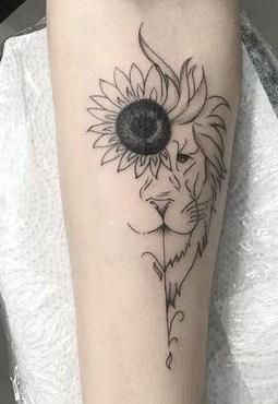Lion Sunflower Tattoo