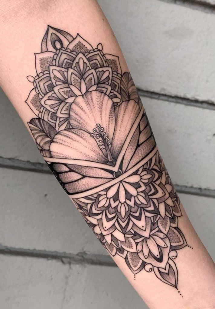 Mandala Hibiscus Tattoo