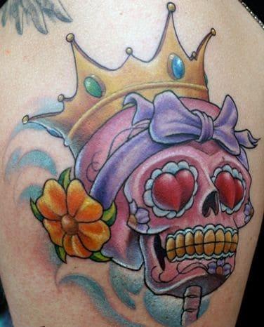 New School Sugar Skull Tattoo