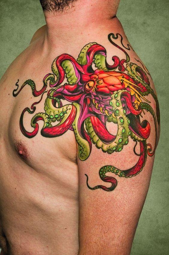 Octopus Tattoo on Shoulder