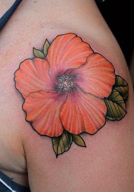 Orange Hibiscus Tattoo