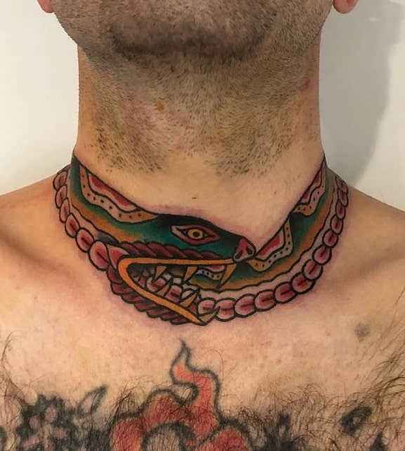 Ouroboros Tattoo Around the Neck