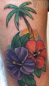 Palm Tree Hibiscus Tattoo
