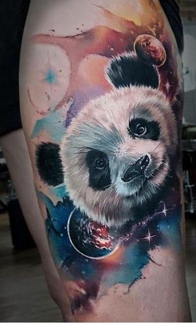Watercolor Panda Bear Tattoo