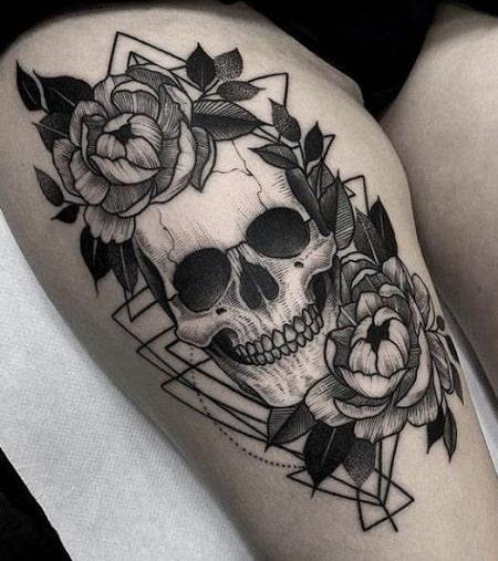 Peony and Skull Tattoo