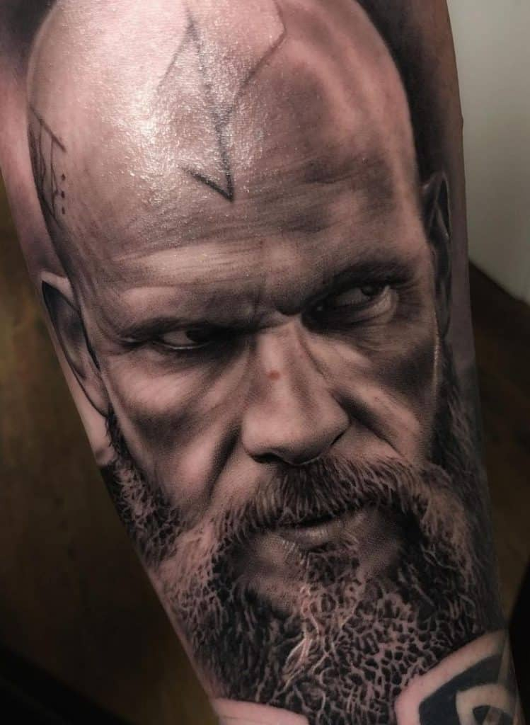 Realistic Black and Grey Viking Tattoo