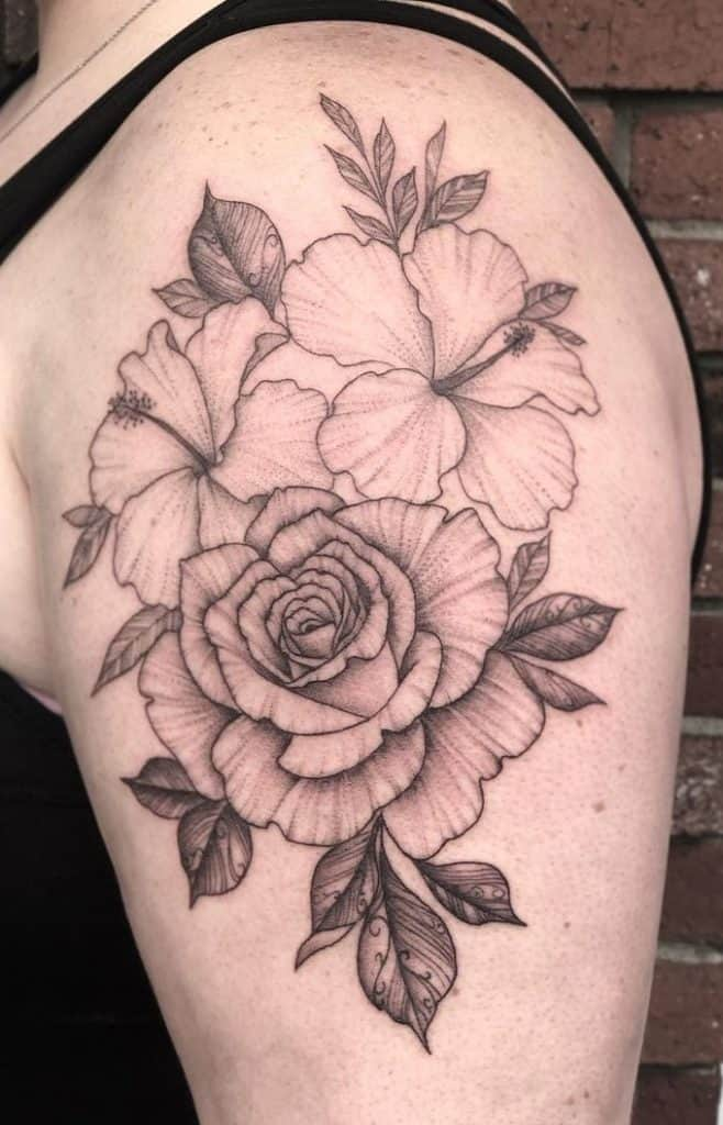 Rose and Hibiscus Tattoo
