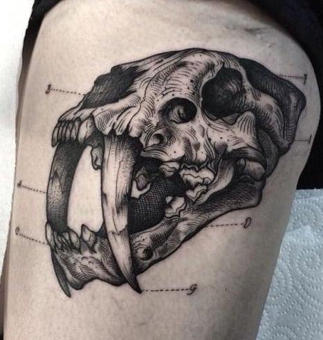 Saber Tooth Tiger Skull Tattoo
